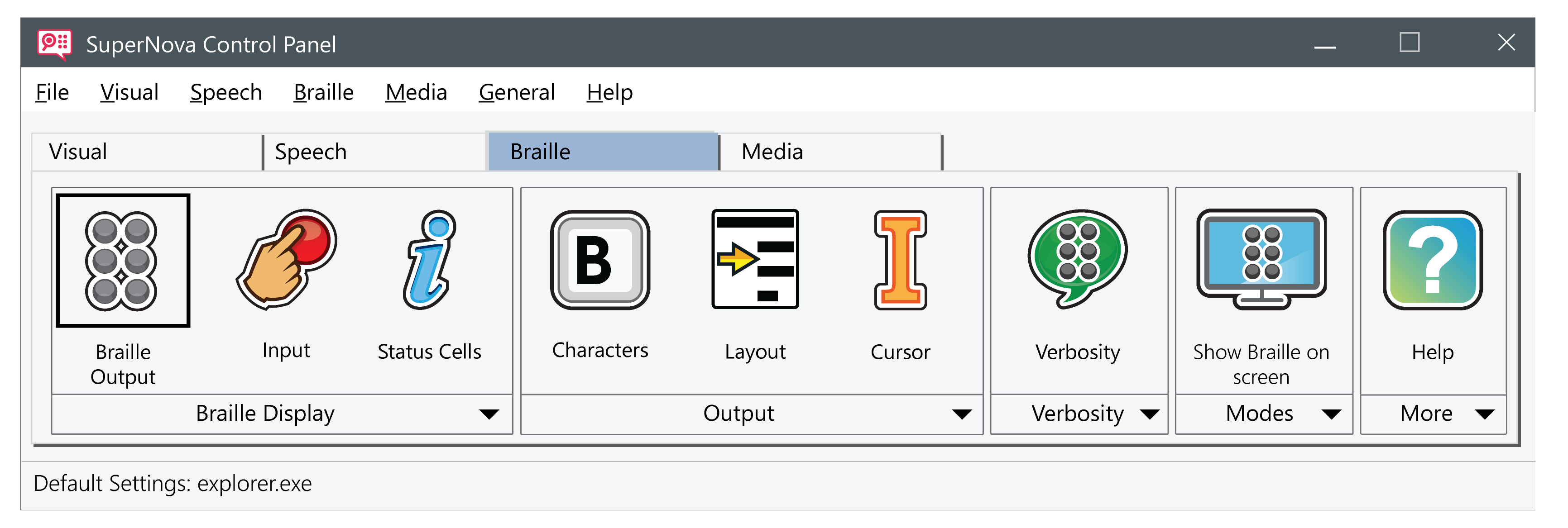 ScreenReader braille toolbar