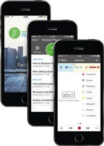 Productfoto van een smartphone met Audio Notetaker