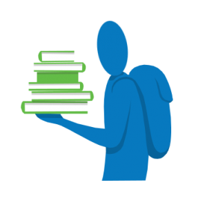 Illustratie van een student met boeken