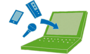 Illustratie van een laptop met verschillende inputs