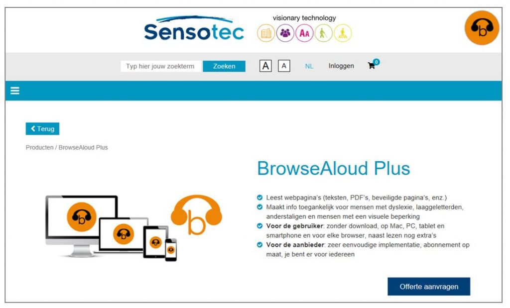 BrowseAloud on Sensotec site