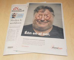 Foto van de advertentie in de Standaard op 1 augustus: Kamelego, één en al oor.