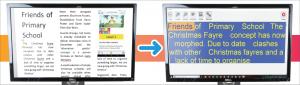 Un document Word apparaît agrandi sur l'écran de gauche. L'écran de droite montre le même document épuré dans DocReader.
